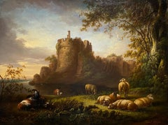 A young poet seated in a landscape before ruins, with sheep and goats resting