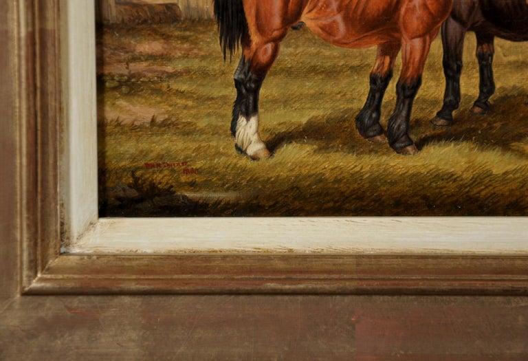 Horses Grazing - Victorian Painting by William Henry Marmaduke Turner