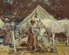 At Camp - Horses in a landscape