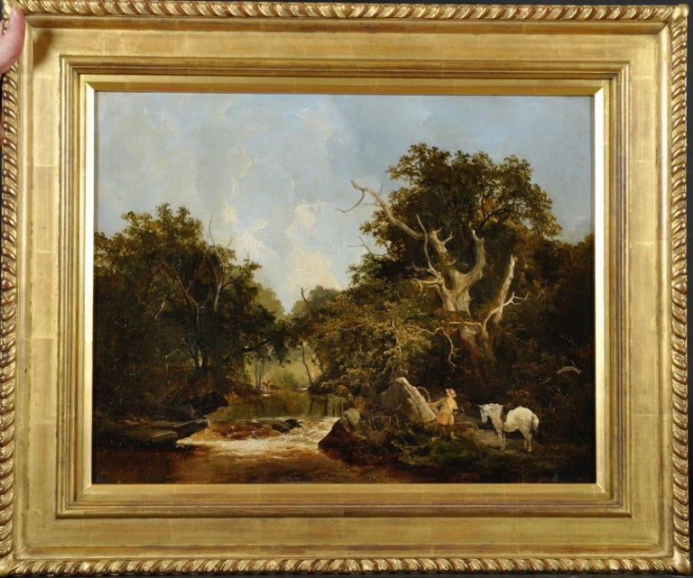 A landscape with a huntsman stalking deer on a river bank  - Painting by James Stark