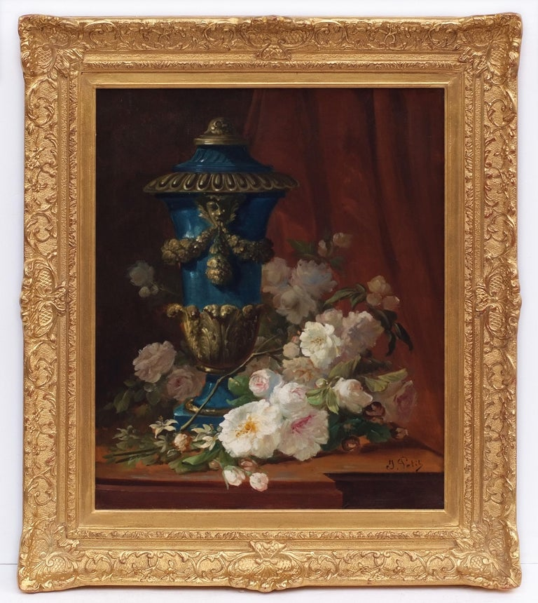 PETIT Jacob Also Called Jacob-Petit Interior Painting - painting 19th century Composition of flowers with vase Medicis