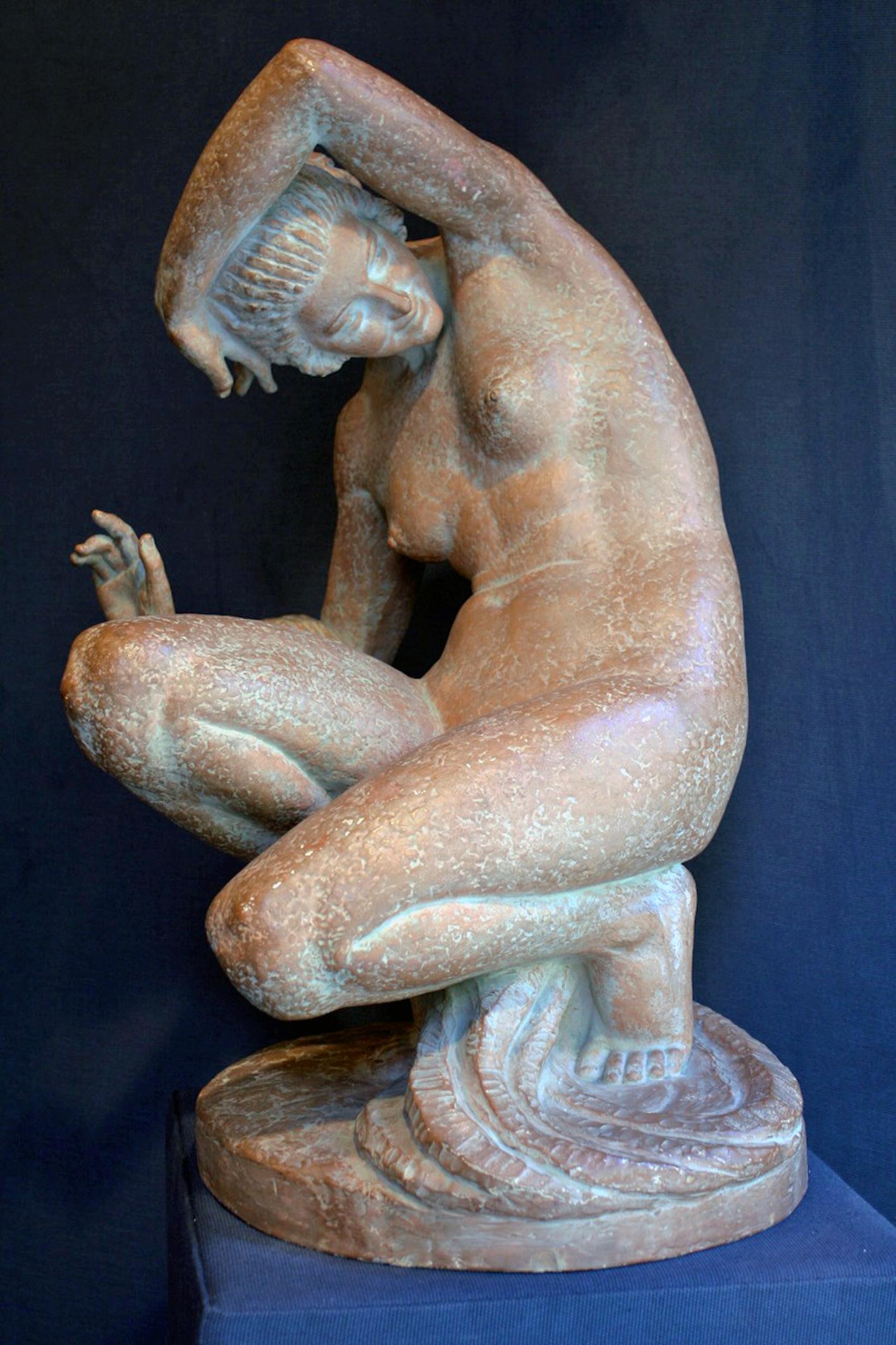 Sculpture Terracotta Female Nude From Marcel Bouraine (1886-1948)