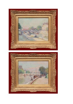 Paintings in Pair Paris views Circa 1920 signed Louis BATTIN