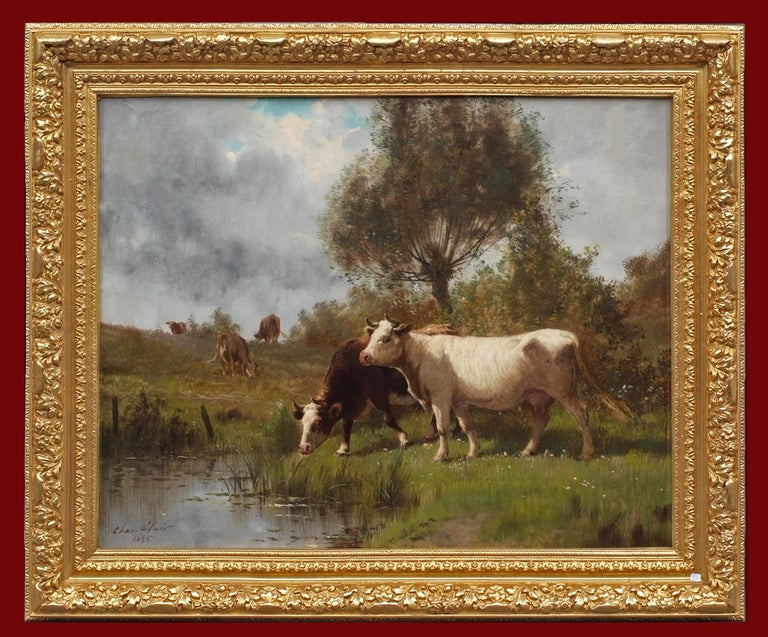 CLAIR Charles Animal Painting - Cows on Pasture by The River , painting 19th Century, Barbizon School