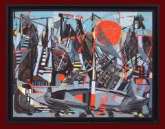 The Harbour, Abstract Painting Middle 20th Century