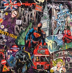 Comics Heroes in London painting