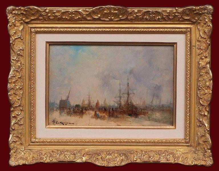 Karnec Jean Etienne Landscape Painting - Marine Post Impressionist Painting 19th Century