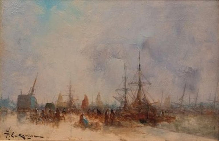 Karnec Jean Etienne (1865-1934) Marine Oil on wood panel signed low left Frame by Gault (Paris)   Dim wood panel : 19 X 29 cm Dim frame : 34 X 44 cm  Karnec Jean Etienne (1865-1934) Austrian Painter 19th-20th century Born in 1865. Dead in