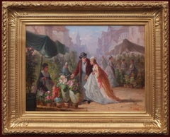 Romance at the Flower Market, Painting 19th Century Genre Scene