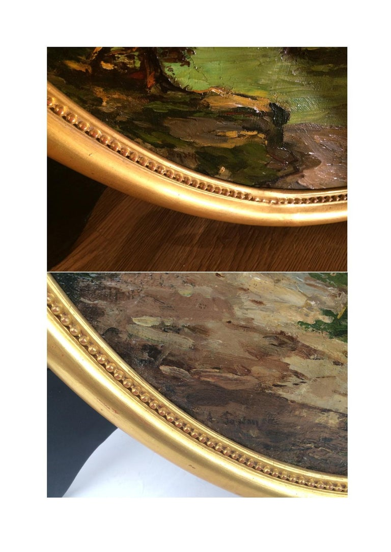 PONSON Etienne Aimé (1850-1924) French Provene Mediterenean Landscape Oils on canvas in Pair signed low Old frames gilded with leaves Dim canvas (each) : 54 X 46 cm Dim frame (each) : 60 X 52 cm  PONSON Etienne Aimé (1850-1924) French painter 19th