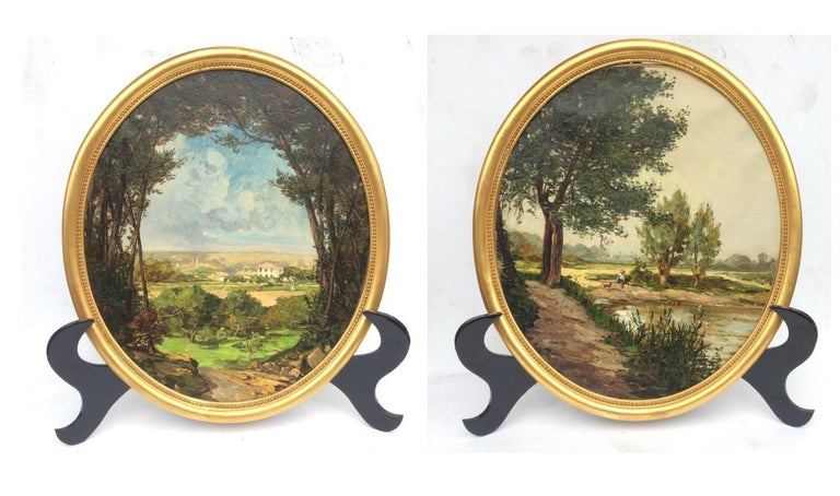 PONSON Etienne Aimé Landscape Painting - Landscape from French Provence, Painting  19th Century