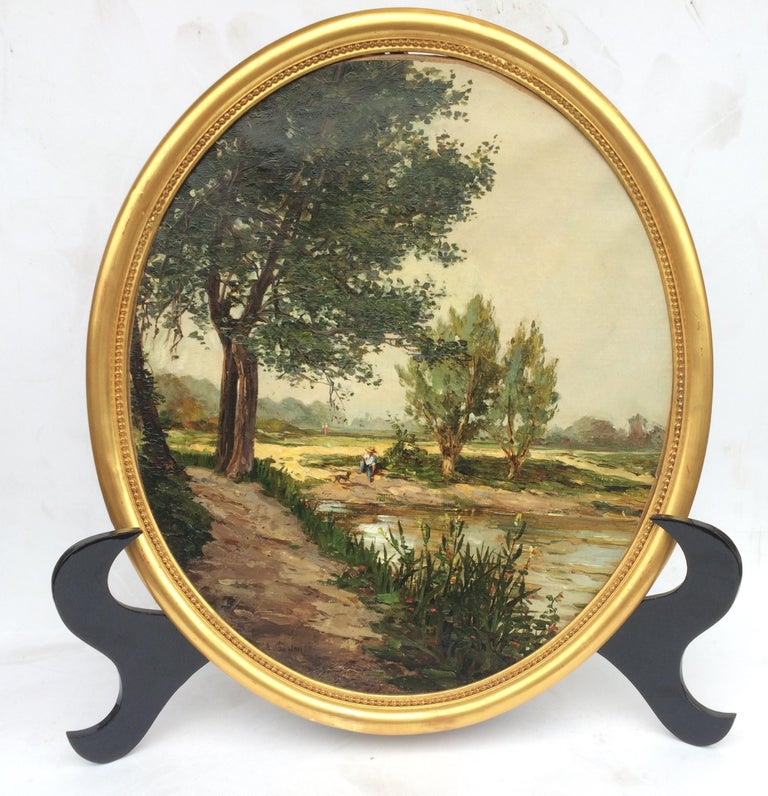 Landscape from French Provence, Painting  19th Century For Sale 1