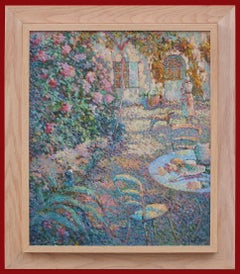 Painting Pointillist 20th Century view of Gerberoy Garden