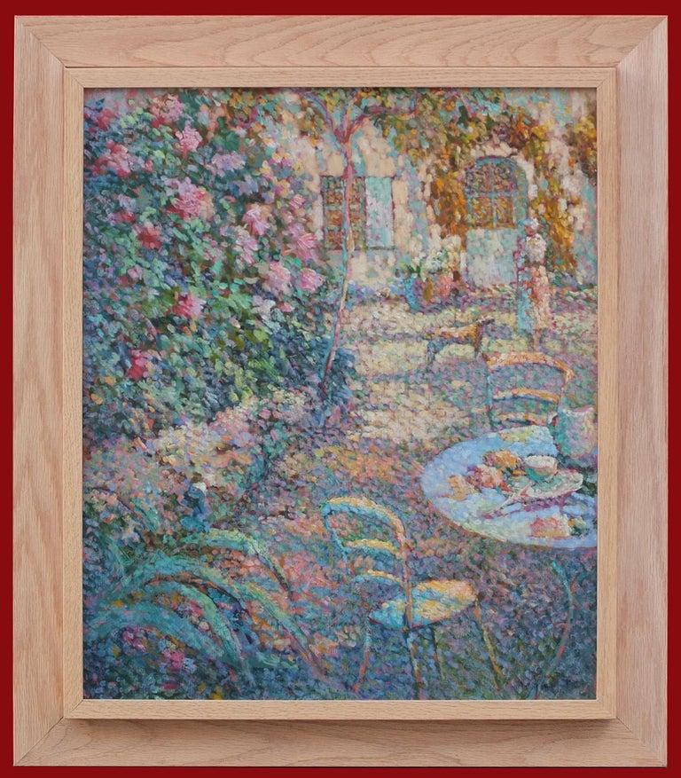 BEGARAT Eugène Still-Life Painting - Painting Pointillist 20th Century view of Gerberoy Garden