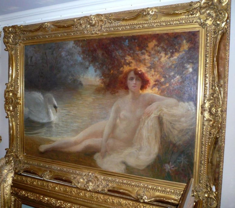 The Naiad and the Swan - Painting 19th Century For Sale 3