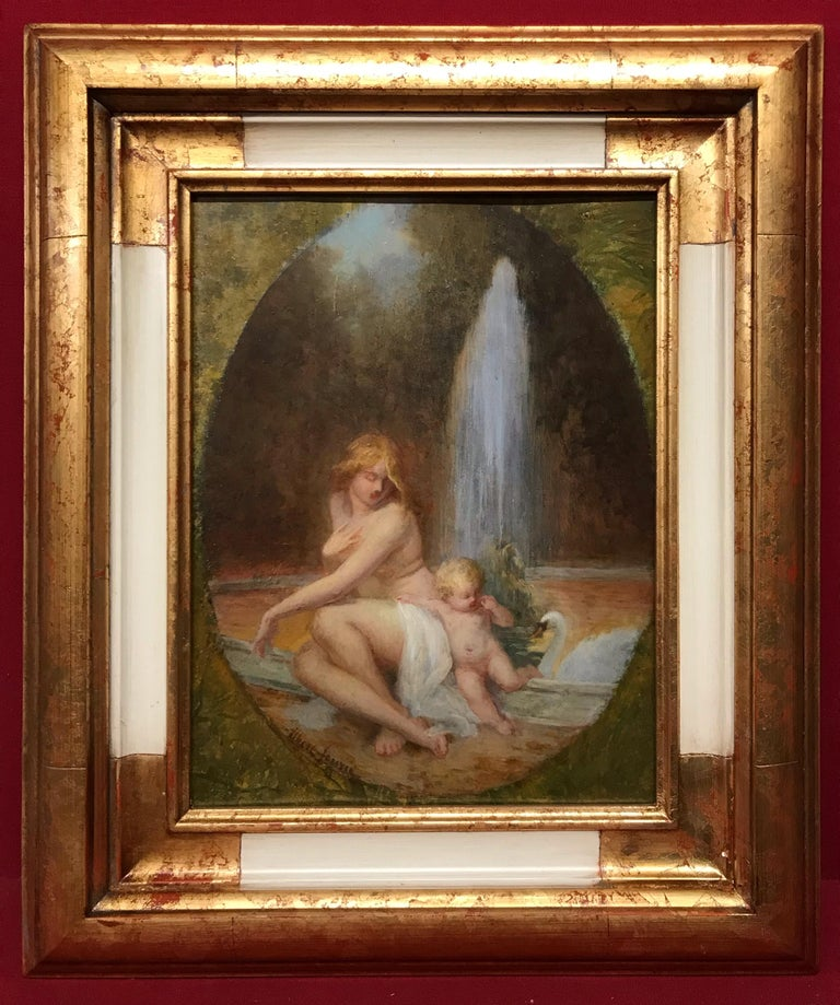 Albert Auguste FOURIE  Nude Painting - The Naiad and the Swan - Painting 19th Century