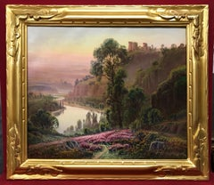Landcape View from La Creuse in France - painting 19th Century
