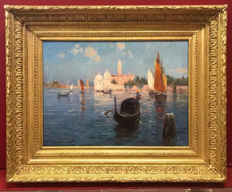 ADAM LAURENS Suzanne Adrienne, aka Nanny   Landscape Painting - Venice Laguna with Gondola