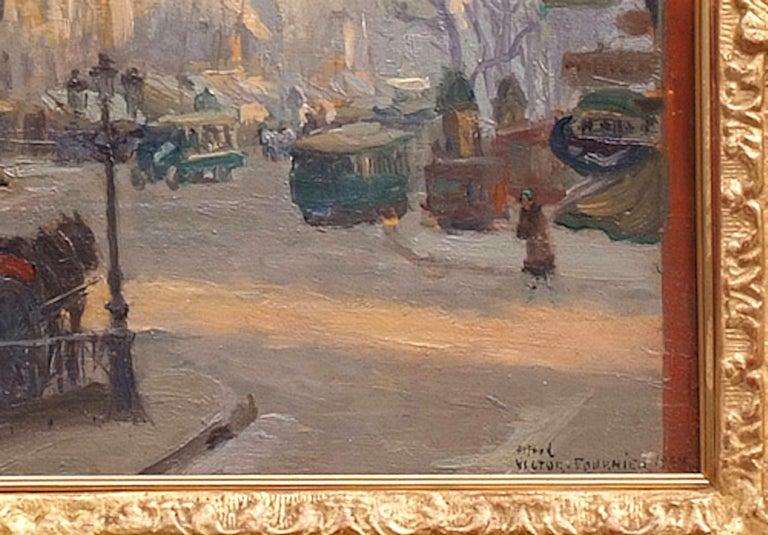 Paris, Boulevard Porte Saint Denis - Painting by Fournier Victor Alfred