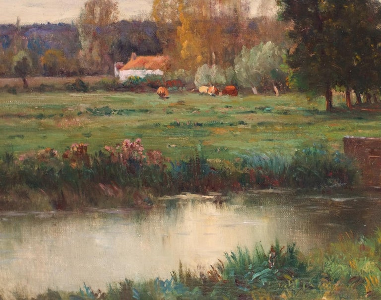 MORIN Charles Camille (1846 – 1919)   Landscape by the pond  Oil on canvas signed low right  Old frame gilded with leaves  Dim canvas : 73 X 54 cm Dim frame : 85 X 65 cm  MORIN Adolphe (1841-c.1880) French painter born in Stenay (Meuse) in 1841.