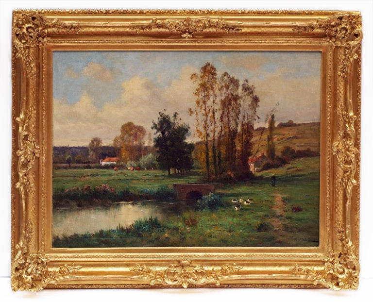 MORIN Adolphe Landscape Painting - Landscape by the Pond