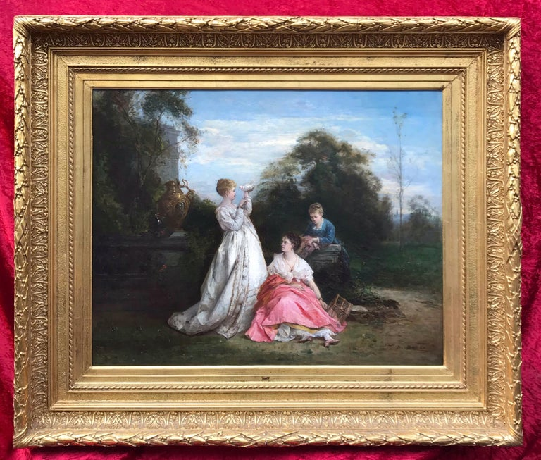 BARON Dominique Landscape Painting - The Ladies and the Dove