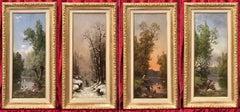The Four Seasons - Four Original Paintings 19th Century