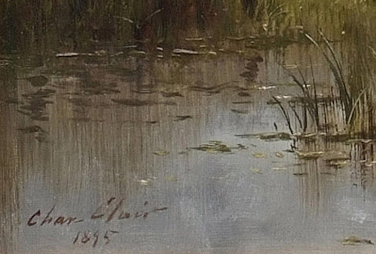 Cows on Pasture by The River , painting 19th Century, Barbizon School - Painting by CLAIR Charles