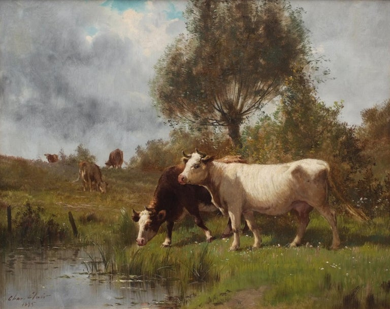 Cows on Pasture by The River , painting 19th Century, Barbizon School - Brown Animal Painting by CLAIR Charles