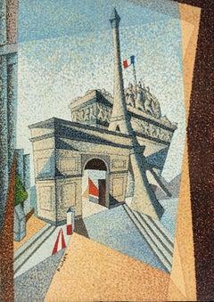 Pointillist Painting Contemporary Paris Heritage Buildings