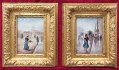 Ladies in The Paris Street - Belle Epoque Period - Original Pair