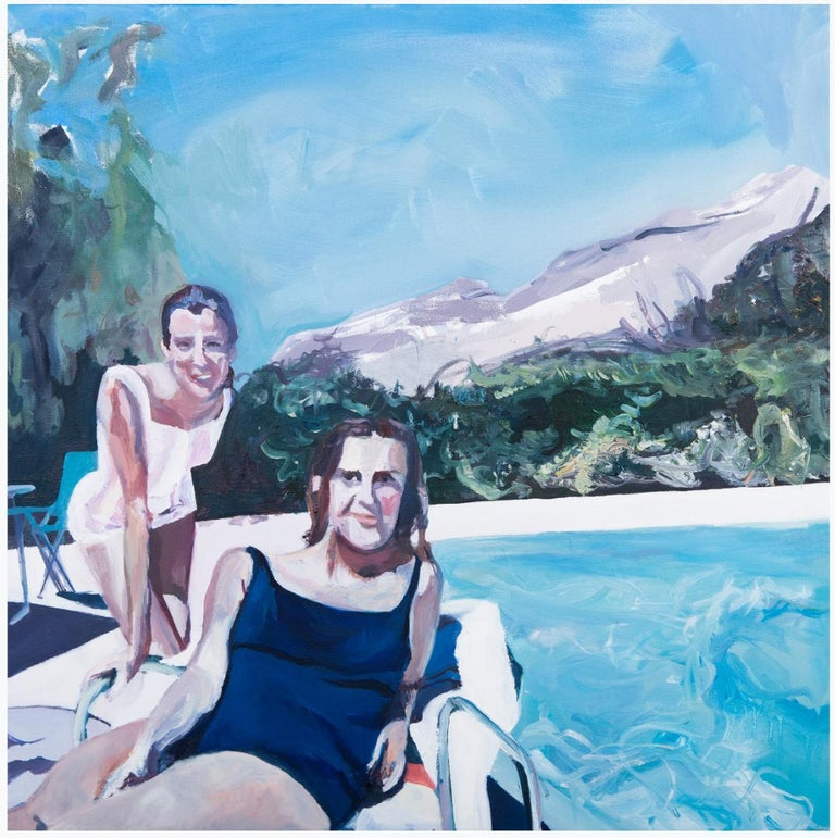 Katherine Russell Landscape Painting - ' Poolside Smiles '  oil on canvas