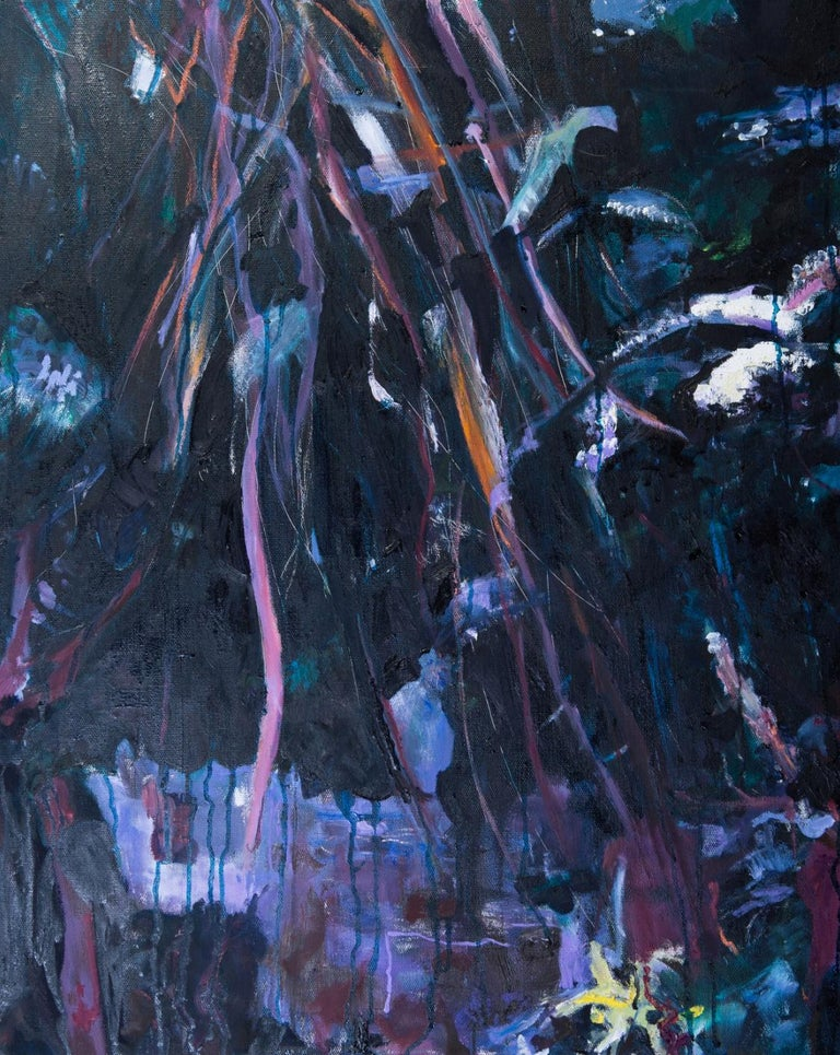 Katherine Russell Abstract Painting - ' Night Scene '  oil on canvas