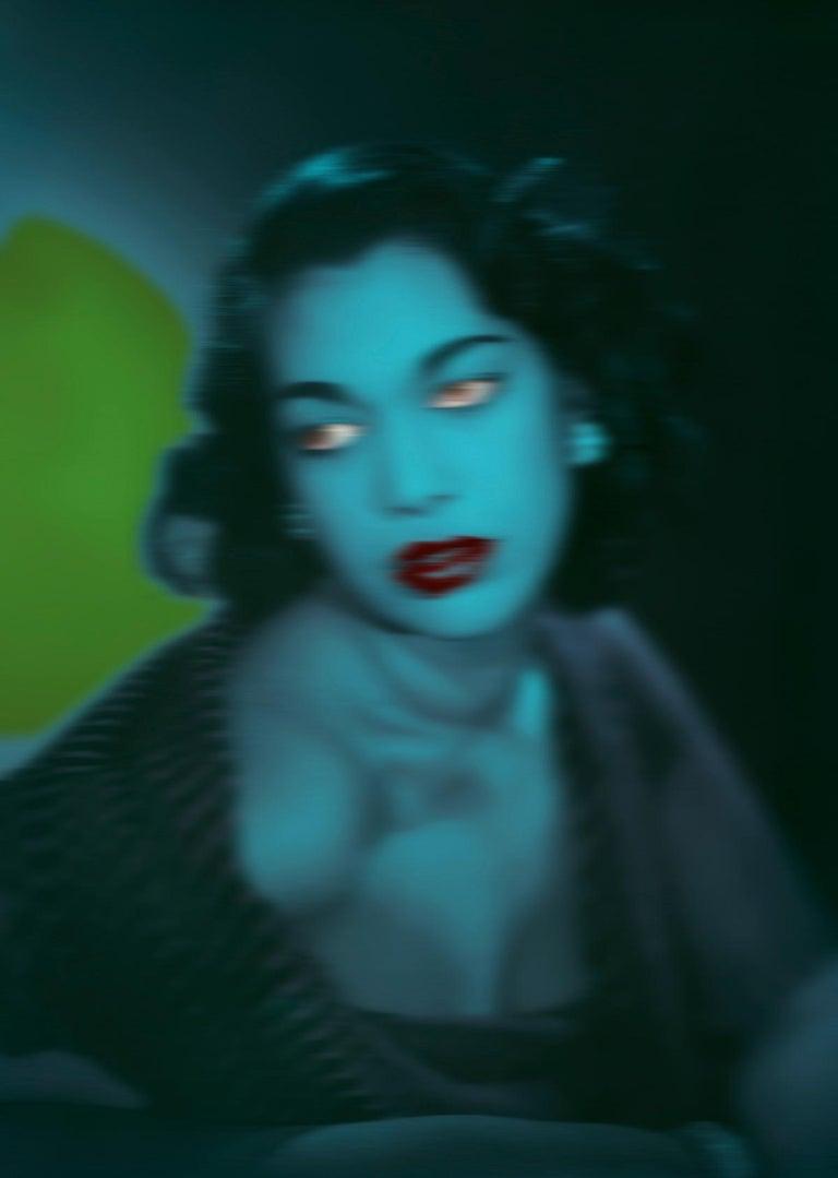 Batik Color Photograph - Blue Girl  - Oversize limited edition - Pop Art