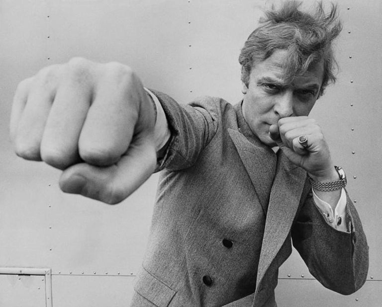 Stephan C Archetti Black and White Photograph - Michael Caine Punch - Oversize 20th century black and white photography