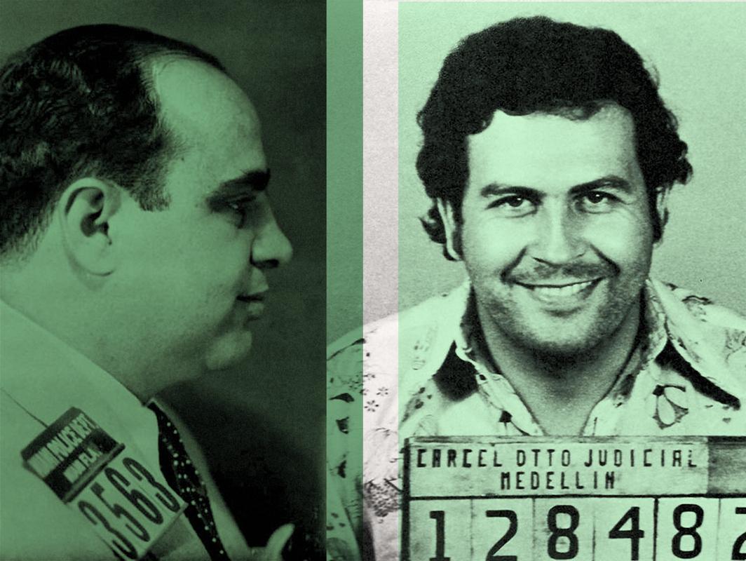 The Colour Of Money - Al Capone and Pablo Escobar  BATIK signed limited edition