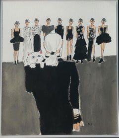Karl Lagerfeld Fashion Show, one of a kind watercolor, 2018