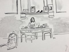 Alessandro Michele in His Studio, 2018, Watercolor and Ink on Paper