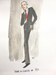 Hubert de Givenchy  in 1973, 2019, Watercolor and Ink on Paper