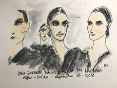 Kaia Gerber Backstage at the Max Mara Show, 2018, Watercolor on Paper