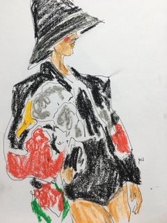 Valentino Fall 2019, Oil Pastel on Paper