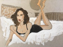 Leonor at the Bidasioa Hotel, 2018 Ink and Watercolor on Paper