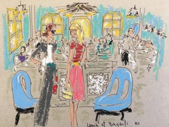 Lunch at Bergdorf's, 2018, Oil Pastel on Paper
