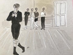 Nureyev rehearsing t Covent Garden in 1961, Watercolor and Gouache on Paper