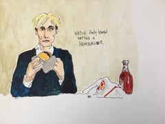 Watch Andy Eat a Hamburger, 2019, Acrylic, Ink and Watercolor on Paper