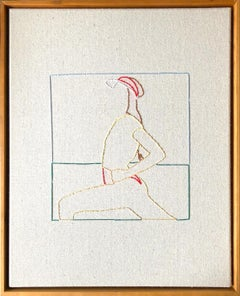 Tennis,  Hand Stitched Canvas, Cherry Wood Frame
