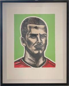 David Beckham Portrait, hand printed lithograph (Framed)
