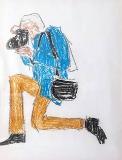 Photographer Bill Cunningham, Oil Pastel on Archival Paper, 2017