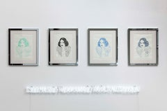 Lola Bang Quadriptych - One of a kind drawings-mirror frame + NEON sign