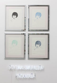 Louise Brooks Quadriptych - One of a kind drawings -mirror frame + NEON sign